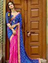 image of Party Wear Pink And Blue Color Printed Saree In Silk And Chiffon Fabric