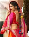 photo of Pink And Orange Color Designer Party Wear Silk And Chiffon Saree