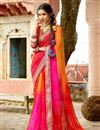 image of Pink And Orange Color Designer Party Wear Silk And Chiffon Saree