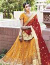 image of Crafty Net Fabric Party Wear Designer Embroidered Lehenga In Yellow Color