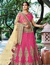 image of Charismatic Pink Color Net Fabric 3 Piece Designer Lehenga Choli