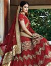 photo of Courtly Red Color Wedding Wear 3 Piece Lehenga Choli In Net Fabric