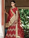 image of Courtly Red Color Wedding Wear 3 Piece Lehenga Choli In Net Fabric