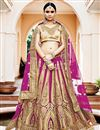 image of Incredible Magenta Color Net Fabric Designer 3 Piece Lehenga Choli With Embroidery