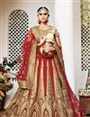 image of Exemplary Red Color Wedding Wear Net Fabric Embroidered Lehenga Choli