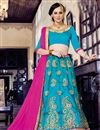image of Splendid Cyan Color Party Wear Designer Net Lehenga Choli With Embroidery Work