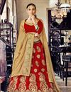 image of Stylish Red Color Designer Embroidered Lehenga Choli In Net Fabric