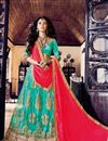 image of Attractively Embroidered Designer Net Lehenga Choli In Cyan Color