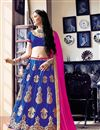 image of Superb Designer Embroidered Net Lehenga Choli In Blue Color