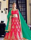 image of Tempting Pink Color Embroidered Party Wear Lehenga Choli In Net Fabric