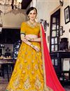 image of Splendid Yellow Color Party Wear Designer Net Lehenga Choli With Embroidery Work