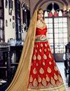 photo of Attractively Embroidered Designer Net Lehenga Choli In Red Color