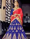 image of Tempting Blue Color Embroidered Party Wear Lehenga Choli In Net Fabric