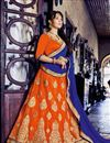 image of Tempting Orange Color Embroidered Party Wear Lehenga Choli In Net Fabric