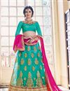 image of Splendid Cyan Color Party Wear Designer Net Fabric Lehenga Choli With Embroidery Work