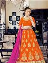 image of Stylish Orange Color Designer Embroidered Lehenga Choli In Net Fabric