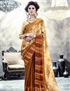 image of Party Wear Stylish Georgette Printed Saree In Beige And Brown Color