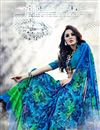 photo of Sparkling Georgette Printed Saree In Blue Color
