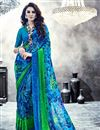 image of Sparkling Georgette Printed Saree In Blue Color