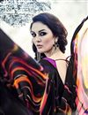 photo of Black Color Beautifully Printed Saree In Georgette Fabric