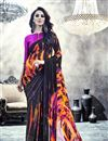 image of Black Color Beautifully Printed Saree In Georgette Fabric