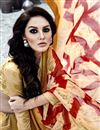 photo of Party Wear Stylish Georgette Printed Saree In Cream Color