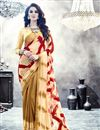 image of Amazing Georgette Printed Saree In Cream Color