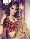 photo of Beautiful Festive Wear Designer Beige Color Chiffon Saree With Embroidery