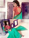 photo of Artistically Embroidered Party Wear Sea Green Color Chiffon Saree