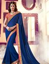image of Embroidered Party Wear Chiffon Saree In Blue Color With Designer Blouse
