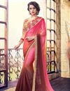 image of Fascinating Pink And Brown Color Festive Wear Saree In Georgette Fabric