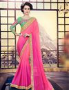 image of Pink Color Festive Wear Georgette Saree With Embroidery Work