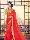 image of Georgette Designer Party Wear Orange Color Saree With Designer Blouse