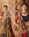 image of Stunning Beige Color Printed Saree In Georgette Fabric