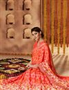 photo of Tempting Peach Color Printed Saree In Georgette Fabric
