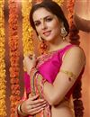 photo of Stylishly Printed Party Wear Pink Color Georgette Saree