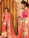 image of Stunning Peach Color Printed Saree In Georgette Fabric