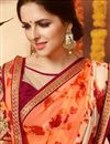 photo of Tempting Orange Color Printed Saree In Georgette Fabric