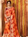 image of Tempting Orange Color Printed Saree In Georgette Fabric