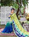 photo of Stylish Georgette Fabric Printed Saree In Green And Blue Color With Banglori Silk Blouse