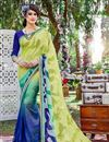 image of Stylish Georgette Fabric Printed Saree In Green And Blue Color With Banglori Silk Blouse