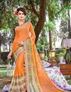 image of Delightful Orange Color Printed Party Wear Georgette Saree