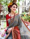 photo of Mesmerizing Grey Color Printed Saree In Georgette Fabric