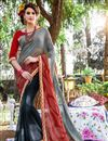 image of Mesmerizing Grey Color Printed Saree In Georgette Fabric