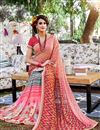 photo of Outstanding Peach Color Party Wear Printed Saree In Georgette Fabric