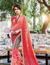 image of Outstanding Peach Color Party Wear Printed Saree In Georgette Fabric