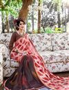 photo of Stylish Georgette Fabric Printed Saree In Peach Color With Banglori Silk Blouse