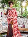 image of Stylish Georgette Fabric Printed Saree In Peach Color With Banglori Silk Blouse