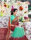 photo of Delightful Red And Cyan Color Printed Party Wear Georgette Saree