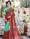 image of Delightful Red And Cyan Color Printed Party Wear Georgette Saree